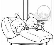 Coloring pages Samsam in bed