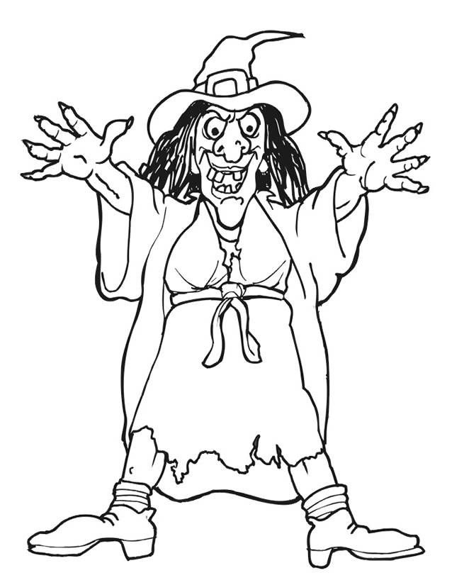 Free coloring and drawings scary witch halloween cartoon Coloring page
