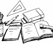 Coloring pages Colored school equipment