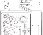 Coloring pages School materials in black and white