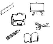 Free coloring and drawings Stylized school materials Coloring page
