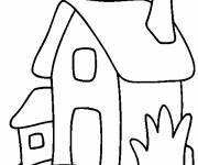 Free coloring and drawings A Simple House to color Coloring page
