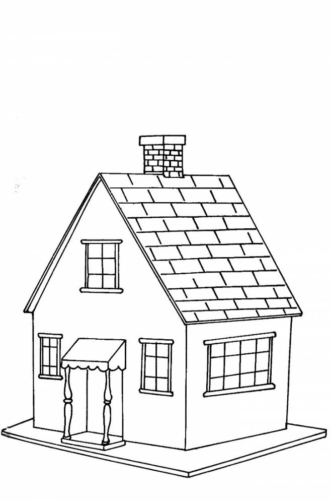 Free coloring and drawings House in color Coloring page