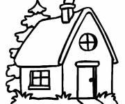 Free coloring and drawings House with fireplace Coloring page