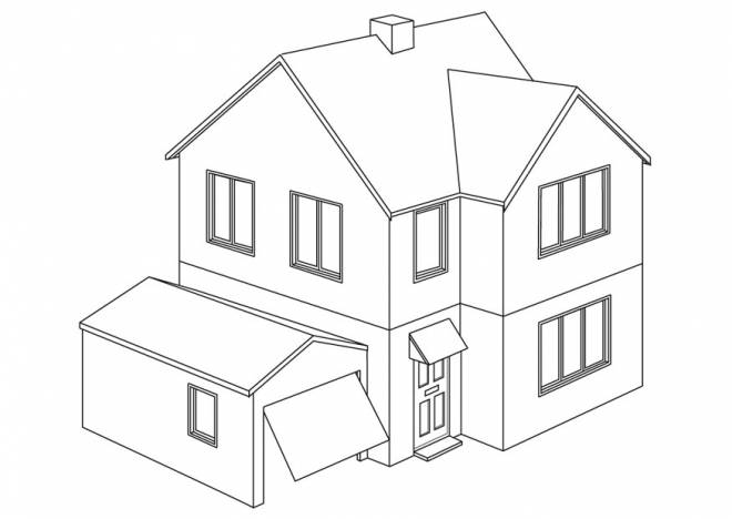 Free coloring and drawings Modern House Coloring page