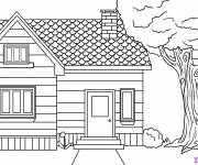 Coloring pages Simple house to cut