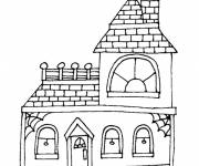 Free coloring and drawings Simple house to download Coloring page