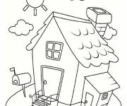 Free coloring and drawings Simple house under the sun Coloring page