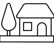 Free coloring and drawings Vector Simple House Coloring page