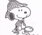Coloring pages Detective Snoopy
