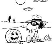 Coloring pages Snoopy and Halloween