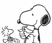 Coloring pages Snoopy decorates the Eggs