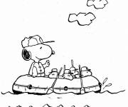 Coloring pages Snoopy in the ship