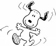 Coloring pages Snoopy while jumping