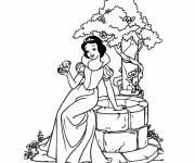 Free coloring and drawings snow white sing with the bird Coloring page