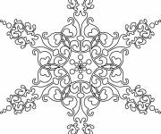 Coloring pages Difficult Snowflake Mandala in black