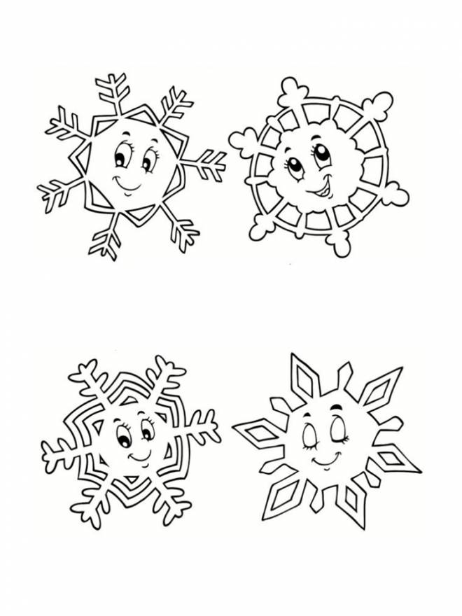 Free coloring and drawings Snowflake in white Coloring page