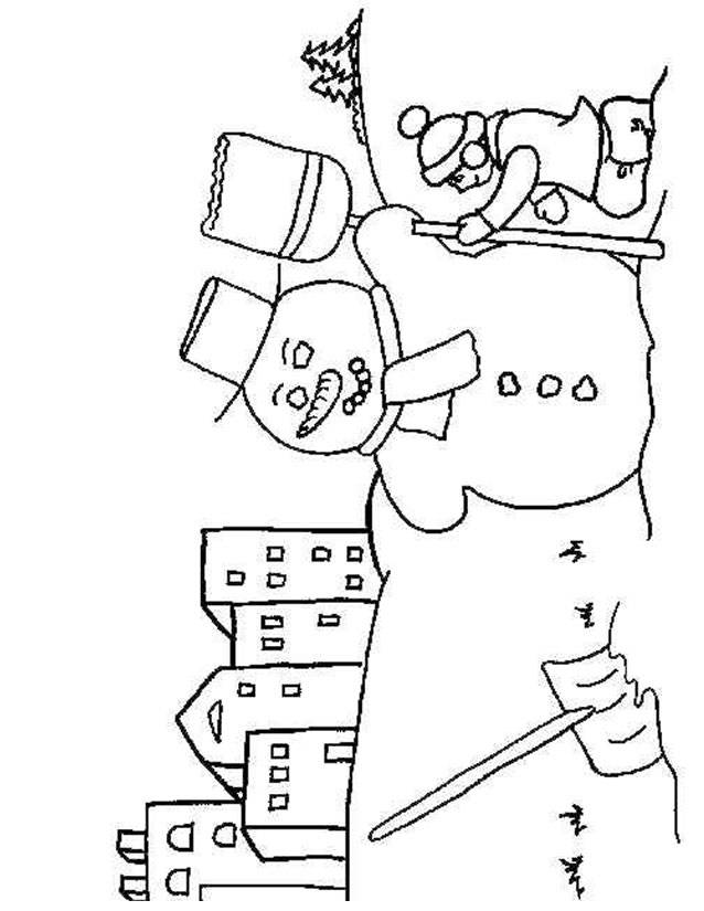 Free coloring and drawings A Boy builds his Snowman Coloring page