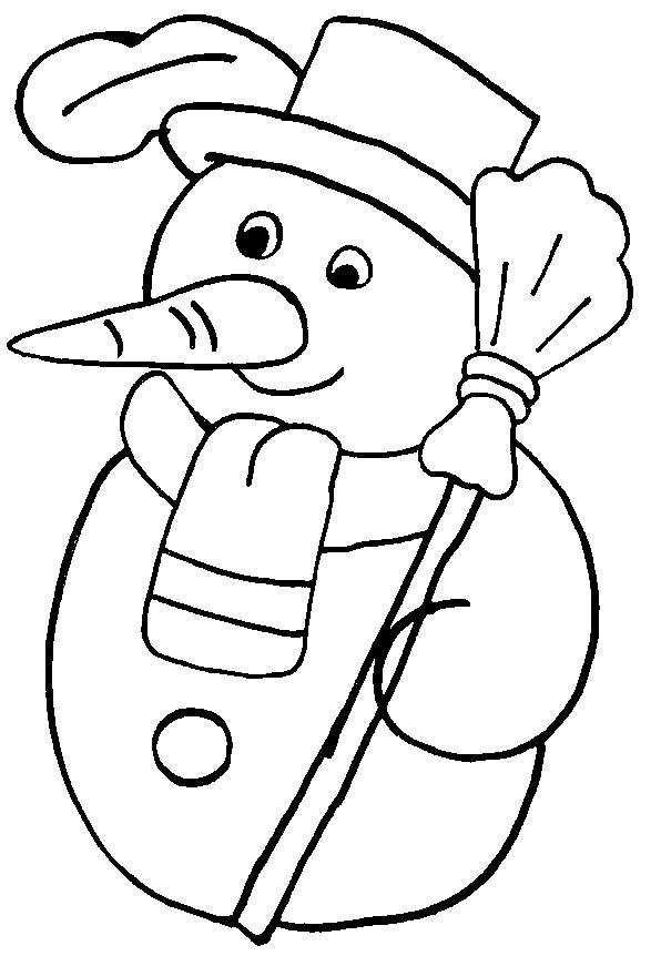 Free coloring and drawings A handsome Snowman Coloring page