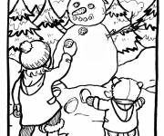 Coloring pages Children and Snowman