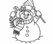 Free coloring and drawings Smiling Snowman online Coloring page