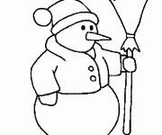 Free coloring and drawings Snowman dressed Coloring page