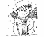 Free coloring and drawings Snowman during winter Coloring page