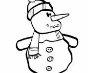 Free coloring and drawings Snowman in black and white Coloring page