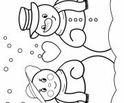 Free coloring and drawings Snowman in love Coloring page