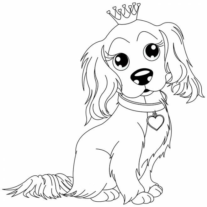 Free coloring and drawings A Cute Dog Wearing The Crown Coloring page