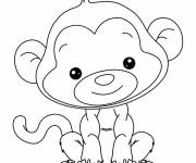 Free coloring and drawings Beautiful little monkey Coloring page