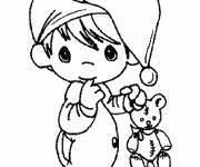 Free coloring and drawings Cute baby and his soft toy Coloring page