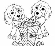 Free coloring and drawings Cute Dogs and Popcorn Coloring page