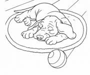 Free coloring and drawings Dog sleeping Coloring page