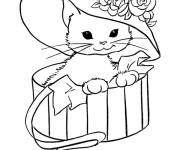 Free coloring and drawings Too cute cat wearing a hat Coloring page
