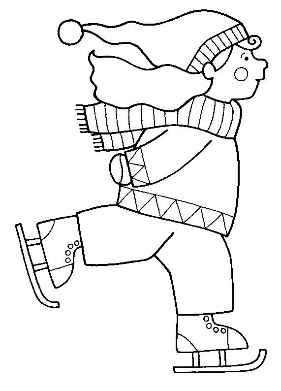 Free coloring and drawings A Girl Goes Skiing Color Coloring page