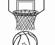 Coloring pages Basketball ball and basket