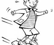 Coloring pages young child on his skate