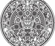 Coloring pages Sun Mandala for adults