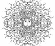 Coloring pages Sun Mandala to relax