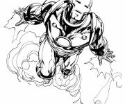 Coloring pages Iron Man in flight