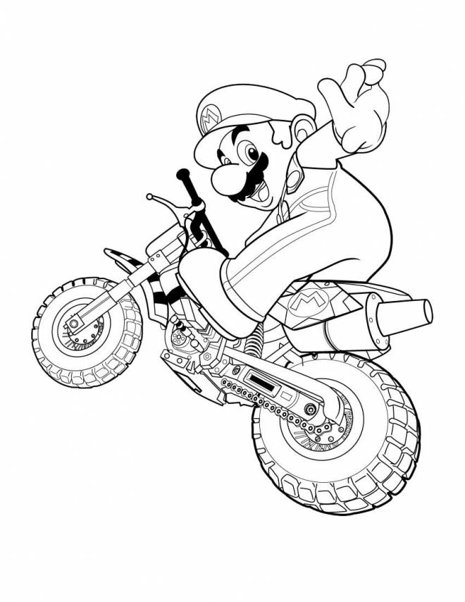 Free coloring and drawings Mario Bros on racing motorcycle Coloring page