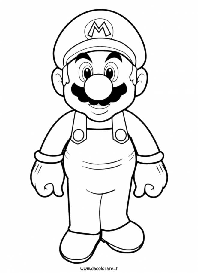 Free coloring and drawings Portrait of Super Mario Coloring page