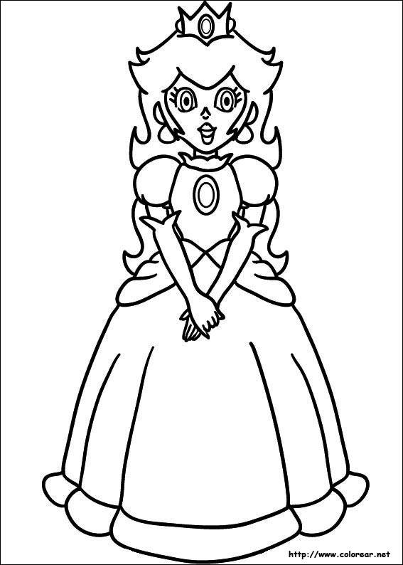 Free coloring and drawings Princess Peach stylized to cut Coloring page