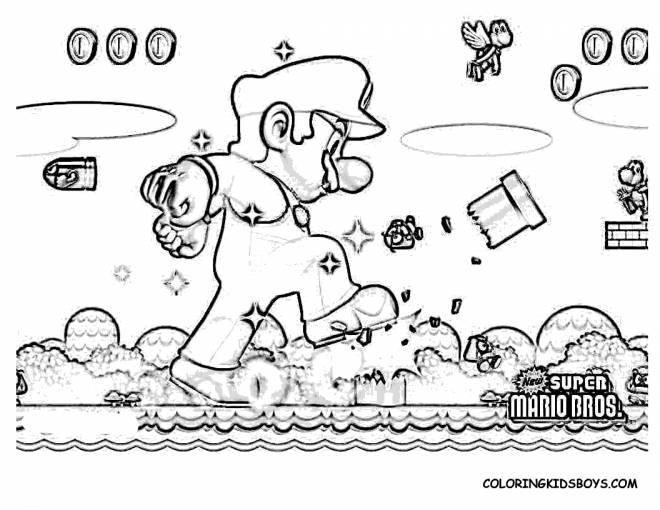 Free coloring and drawings Realistic Super Mario Coloring page