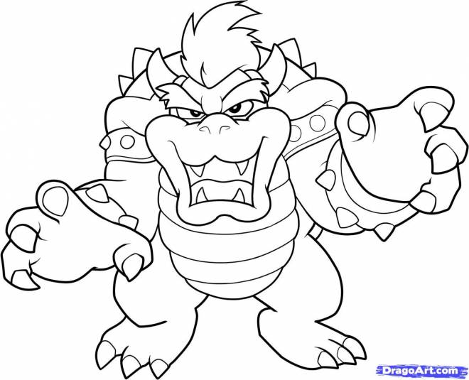 Free coloring and drawings Scary bowser Coloring page