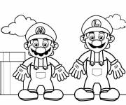 Coloring pages Super Heroes Mario and Luigi