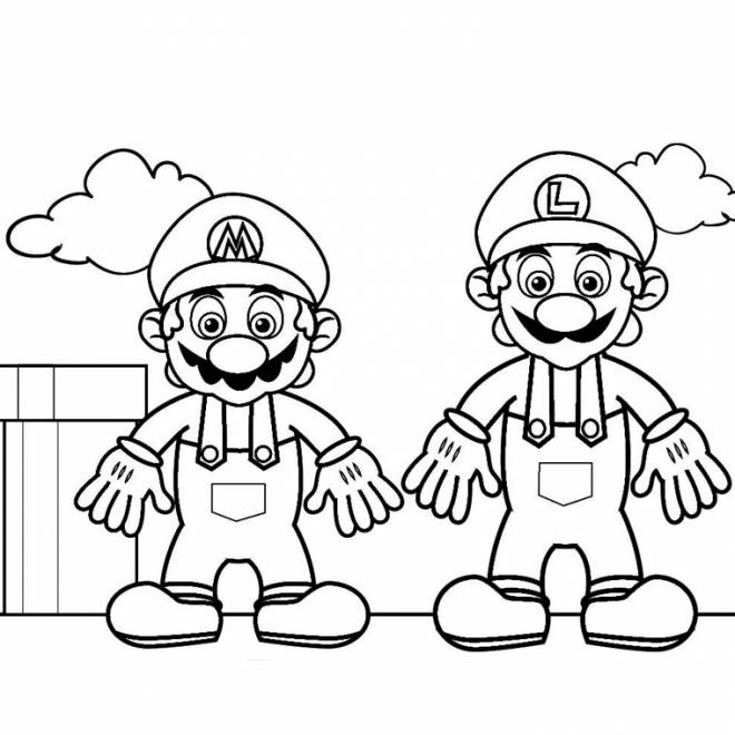 Free coloring and drawings Super Heroes Mario and Luigi Coloring page