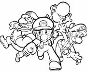 Coloring pages Super Mario and his friends