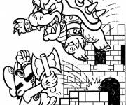 Free coloring and drawings Super Mario and Magic Bowser Coloring page